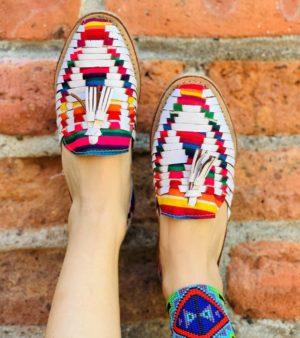 Z0004 Huarache Artesanal Mexicano Piso Mujer panchito multicolor zarape Venta por Mayoreo